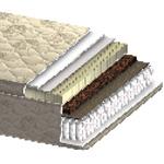 Матрас Аврора Комфорт - Зонированый матрас производителя Акант Аврора Комфорт с односторонней конструкцией Pillow-Top, в котором все мягкие слои расположены на одной стороне. Матрас на основе пружинного блока Pocket Spring, натурального латекса и кокосовой койры.